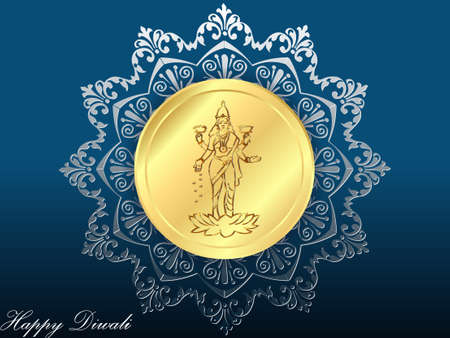 happy diwali card with gold coin and pattern background