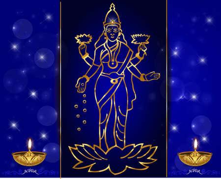 Hindu mythological Goddess Laxmi giving blessings on occasion festival Diwali celebrations vector eps-10 Vector