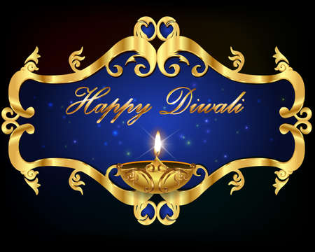 indian festival: Diwali graphic design, diya on Diwali Holiday background
