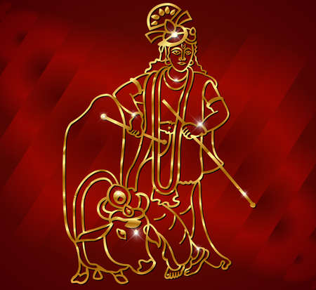 jainism: Krishna with goldenartwork sits on the cow and plays the flute on the blue backgroundvector