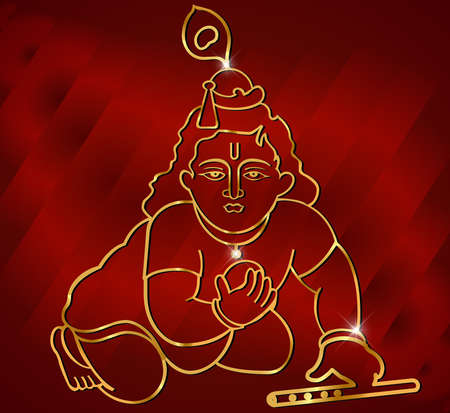krishna: Little Krishna with flute,hindu god krishna artwork on red satin background vector Illustration