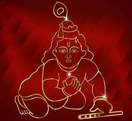 hindu god: Poco Krishna con la flauta, obras de arte dios hind� Krishna en el sat�n rojo de fondo vector Vectores