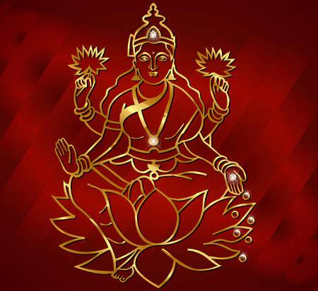 hindu goddess: Diwali card design, diya with laxmi background  Illustration