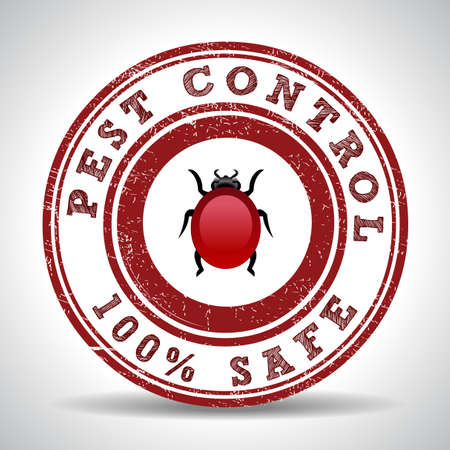 vector control illustration: Pest control 100%  safe grunge rubber stamp on white, vector illustration