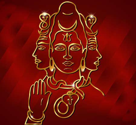 god icon: vector illustration of Hindu deity lord Shiva