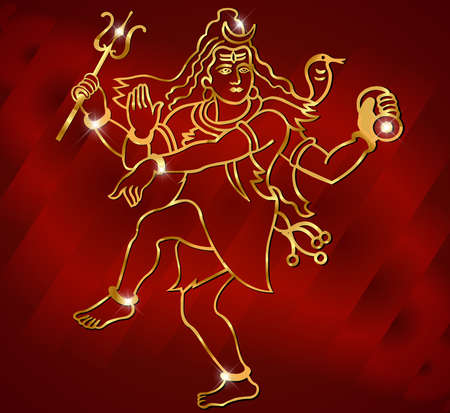 popular belief: Hindu deity lord Shiva on a sparkling red background vector
