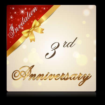 3rd: 3 year anniversary celebration golden ribbon, 3rd anniversary decorative invitation card - vector illustration