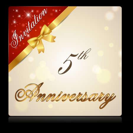 5th: 5 year anniversary celebration golden ribbon, 5th anniversary decorative invitation card - vector illustration