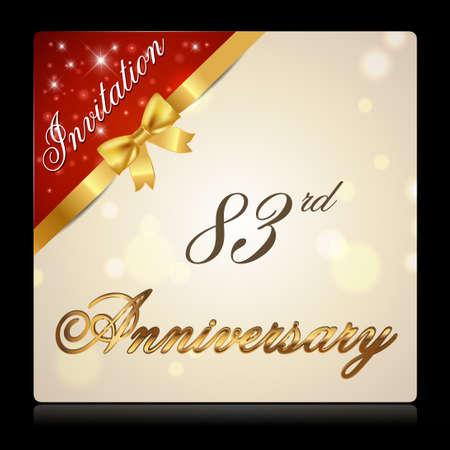 83rd: 83 year anniversary celebration golden ribbon, 83rd anniversary decorative invitation card - vector illustration Illustration
