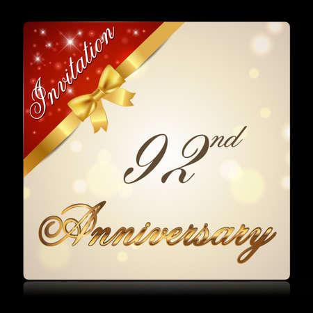 92: 92 year anniversary celebration golden ribbon, 92nd anniversary decorative invitation card - vector illustration