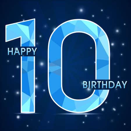 10 años de celebración de cumpleaños etiqueta, décimo aniversario polígono decorativo emblema - ilustración vectorial Ilustración de vector