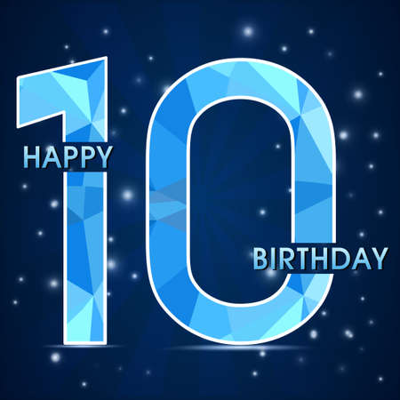 10th: 10 year birthday celebration label, 10th anniversary decorative polygon emblem - vector illustration