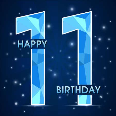11th: 11 year birthday celebration label, 11th anniversary decorative polygon emblem - vector illustration