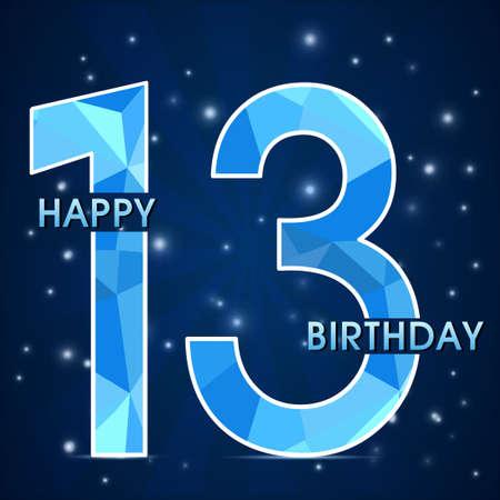 13th: 13 year birthday celebration label, 13th anniversary decorative polygon emblem - vector illustration