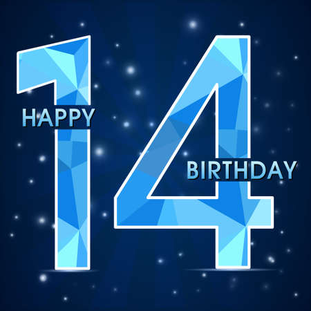 14th: 14 year birthday celebration label,14th anniversary decorative polygon emblem - vector illustration