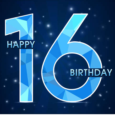 16 year birthday celebration label, 16th anniversary decorative polygon emblem - vector illustration