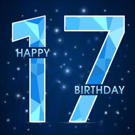 17th: 17 year birthday celebration label, 17th anniversary decorative polygon emblem - vector illustration Illustration