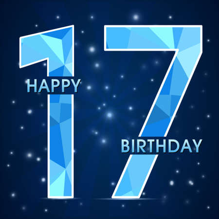 17 year birthday celebration label, 17th anniversary decorative polygon emblem - vector illustration Illusztráció