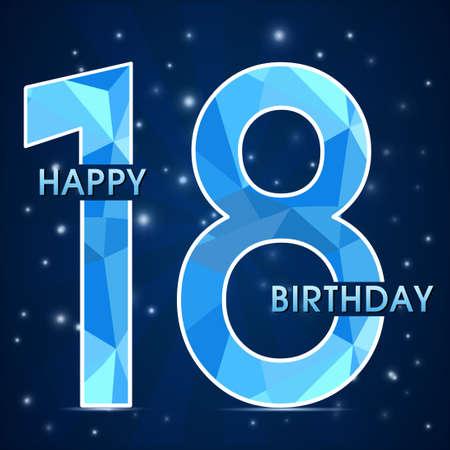 18 year birthday celebration label, 18th anniversary decorative polygon emblem - vector illustration Vectores