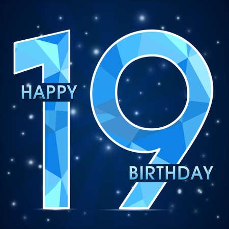 19th: 19 year birthday celebration label, 19th anniversary decorative polygon emblem - vector illustration Illustration