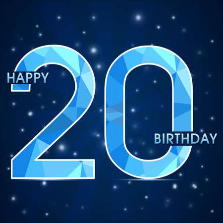 20th: 20 year birthday celebration label, 20th anniversary decorative polygon emblem - vector illustration