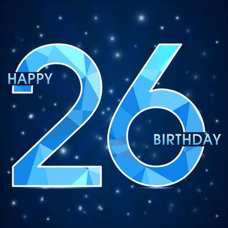 26th: 26  year birthday celebration label, 26th anniversary decorative polygon emblem - vector illustration Illustration
