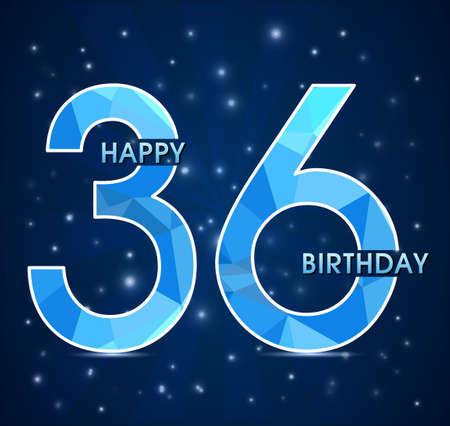 number 36: 36  year birthday celebration label, 36th anniversary decorative polygon emblem - vector illustration