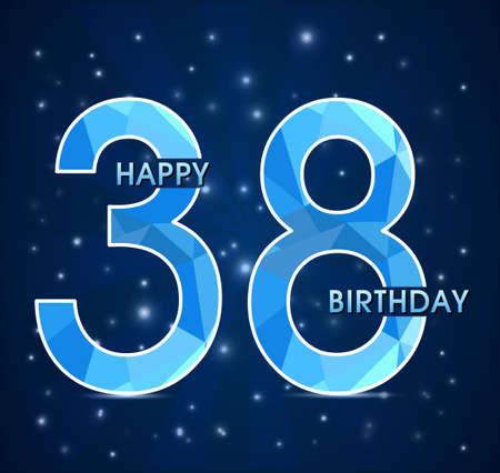38: 38 year birthday celebration label, 38th anniversary decorative polygon emblem - vector illustration
