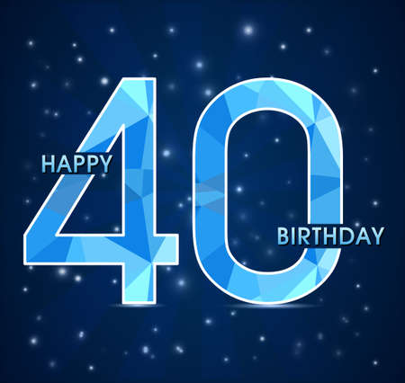 40th: 40 year birthday celebration label, 40th anniversary decorative polygon emblem - vector illustration