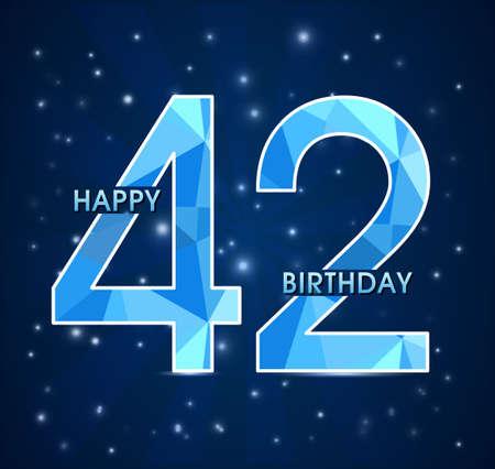 42nd: 42 year birthday celebration label, 42nd anniversary decorative polygon emblem - vector illustration Illustration