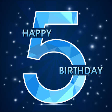 5th: 5 year birthday celebration label, 5th anniversary decorative polygon emblem - vector illustration Illustration
