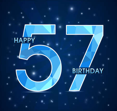 57: 57 year birthday celebration label, 57th anniversary decorative polygon emblem - vector illustration Illustration