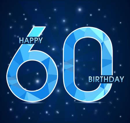 60 year birthday celebration golden label, 60th anniversary decorative polygon golden emblem - vector illustration
