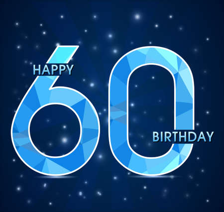 60th: 60 year birthday celebration golden label, 60th anniversary decorative polygon golden emblem - vector illustration