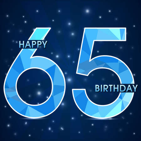 65th: 65  year birthday celebration golden label,decorative polygon golden emblem - vector illustration