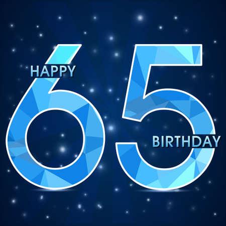 65  year birthday celebration golden label,decorative polygon golden emblem - vector illustration