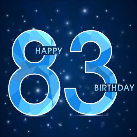83rd: 83 year anniversary celebration golden ribbon, decorative invitation card - vector eps10