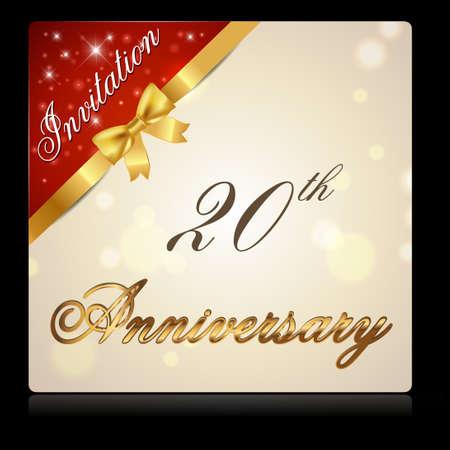 20 year anniversary celebration golden ribbon, decorative invitation card - vector eps10 Vector