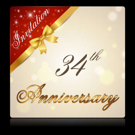 34: 34 year anniversary celebration golden ribbon, decorative invitation card - vector eps10