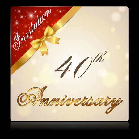 40th: 40 year anniversary celebration golden ribbon, decorative invitation card - vector eps10