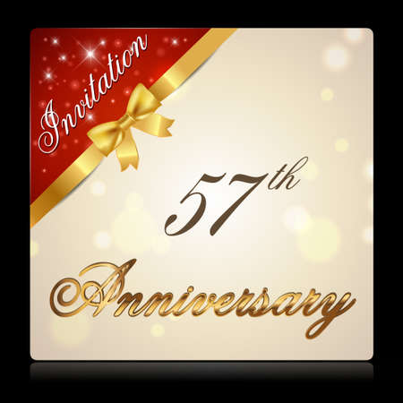 57: 57 year anniversary celebration golden ribbon, decorative invitation card - vector eps10