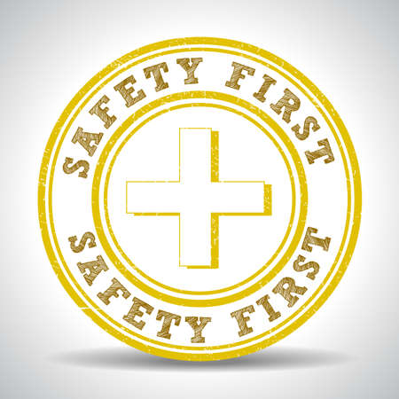 medical preparation: safety first sign seal, stamp graphic - vector eps10