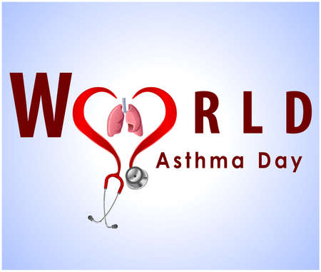world asthma day background with lungs and stylish text on blue background