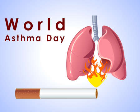 World asthma day background with cigarette lungs and stylish text on blue background Иллюстрация