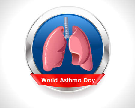 inhalacion: del mundo de fondo d�as asma con los pulmones y el texto elegante en insignia de plata