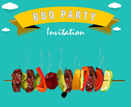 outdoor party: BBQ, Barbecue Menu, Party invitation Infographics - vector  Illustration