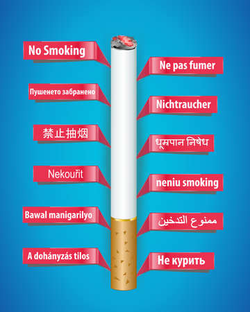 alerting: no smoking poster in different languages- vector eps10