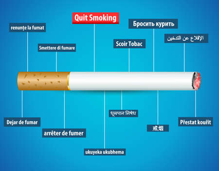quit: quit smoking in different languages, no tobacco day poster background - vector eps10 Illustration