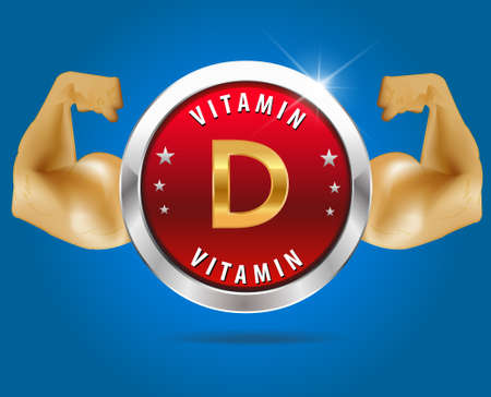 Vitamin  D label silver badge on blue background