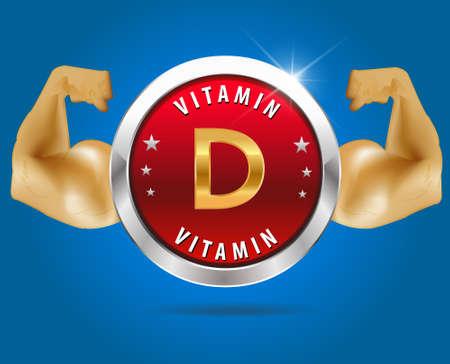 vitamin d: Vitamin  D label silver badge on blue background
